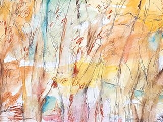 Forest Symphony, mixed media on paper, 53 x 117cm