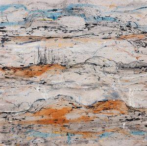 Fragile landscape xxi, mixed media on linen, 92 x 91cm