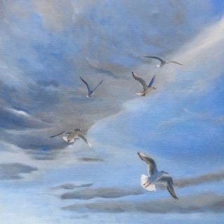 In flight, oil on canvas, 51 x 61cm