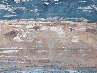 Mountain Ridges, mixed media on paper, 81 x 111cm