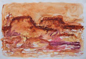 Mountain symphony, mixed media on paper, 78 x 111cm