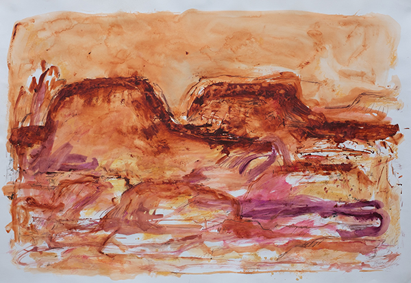 Mountain Symphony, mixed media on paper, 78 x 111cm