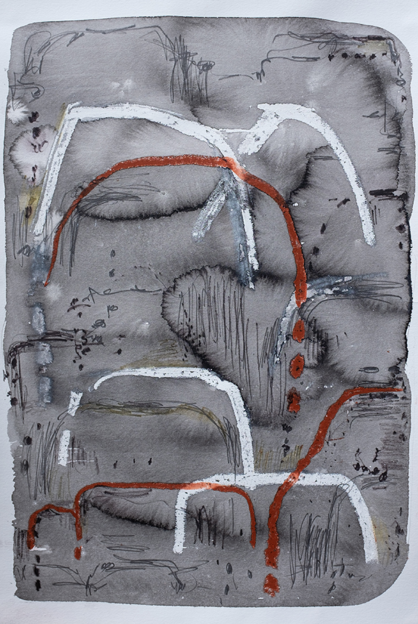 Mountain Trail i, mixed media on paper, 57 x 38cm