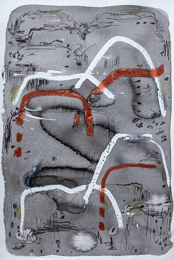 Mountain Trail ii, mixed media on paper, 57 x 38cm