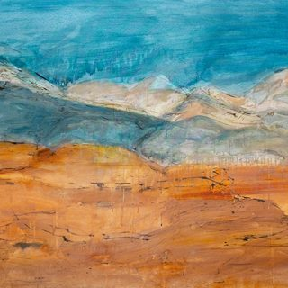 Orange and Sky Landscape i, mixed media on canvas, 92 x 122cm