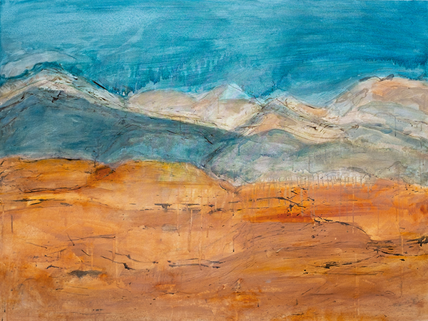 Orange and Sky Landscape i, mixed media on canvas, 92 x 122cm