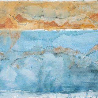 Orange and Sky Landscape ii, mixed media on paper, 78 x 101cm