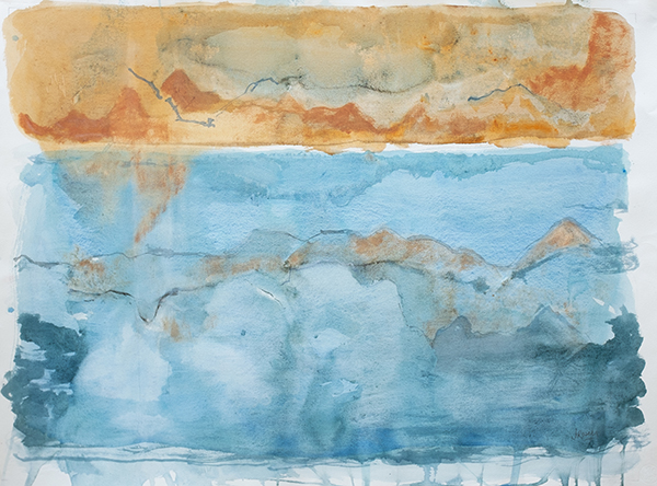 Orange and Sky Landscape ii, mixed media on paper, 78 x 101cm