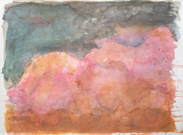Pink and Sienna Landscape, mixed media on paper, 78 x 106cm