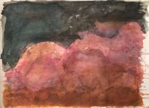 Red earth at dusk mixed media on paper, 78 x 107cm