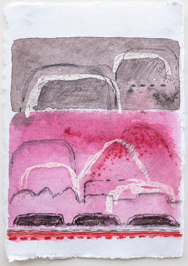 Shifting Landscapes ix, mixed media on paper, 29 x 21