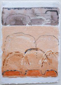 Shifting landscapes v, mixed media on paper, 29 x 21