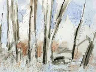 Silent Forest, mixed media on paper, 80 x 100cm