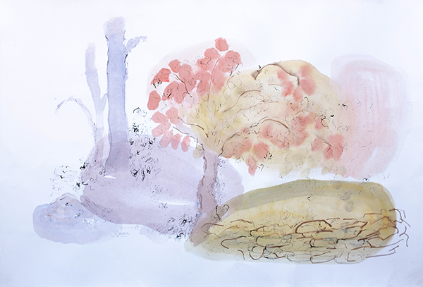 Spring Blossoms, mixed media on paper, 70 x 95cm