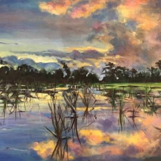 Sunset over Ricefield 1, acrylic on linen, 55 x 65cm
