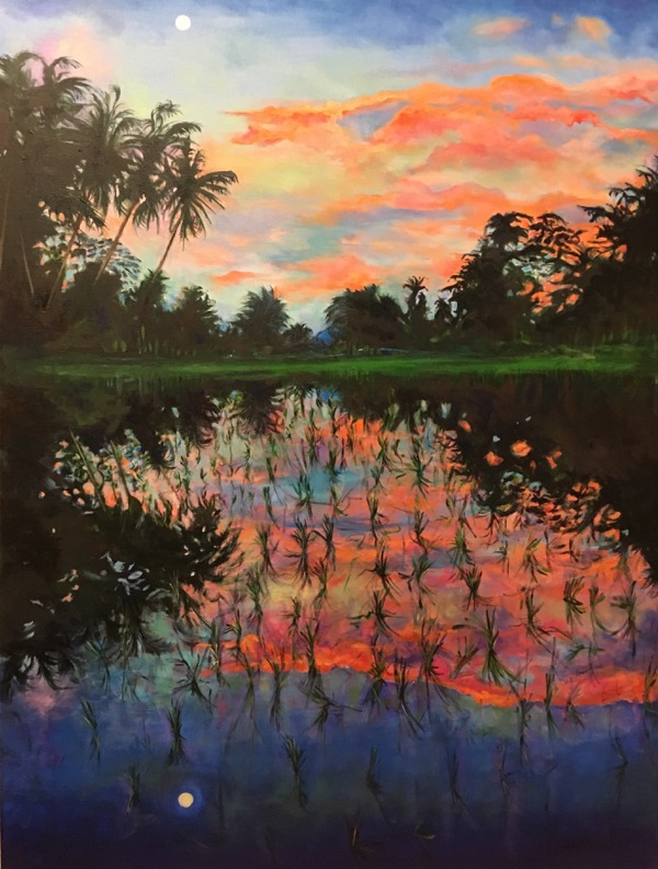 Sunset over ricefield 2, acrylic on linen, 102 x 77cm