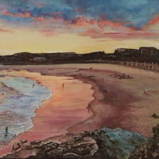 Sunset over the beach, acrylic on canvas, 91 x 61cm