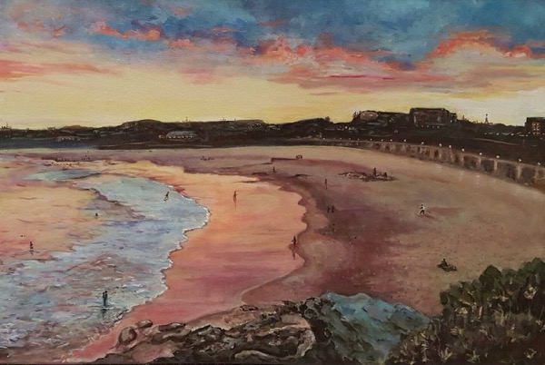 Sunset over the beach, acrylic on canvas, 91 x 61cm