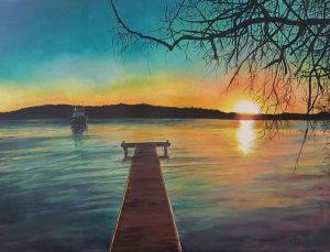 The casurina tree at sunset, acrylic on canvas