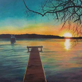 The casurina tree at sunset, acrylic on canvas, 122 x 92cm