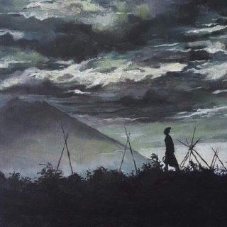 Volcano and Girl, acrylic on canvas, 41 x 31cm