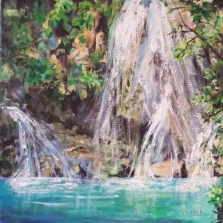Waterfall 1, acrylic on canvas, 30 x 30cm