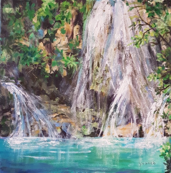 Waterfall 1, acrylic on canvas, 30 x 30cm