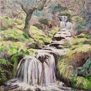 Waterfall 2, acrylic on canvas, 30 x 30cm