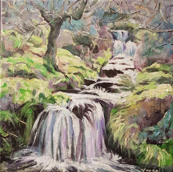 Waterfall 2, acrylic on canvas, 30 x 30cm