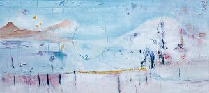 Winter landscape i, mixed media on canvas, 76 x 167cm
