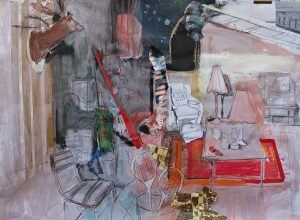 Interior with a gorilla gazing at the stars mixed media on wood, 75 x 100cm