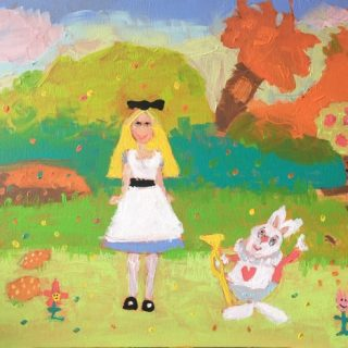 Ava Dujin, Self Portrait as Alice, acrylic on canvas, 41 x 51cm copy