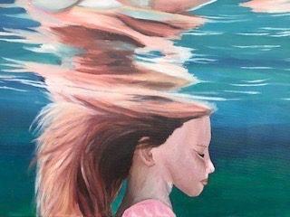 Daniella Sentonaris, girl underwater, acrylic on canvas, 46 x 62cm