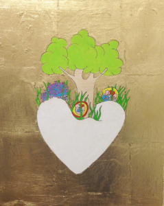 Love echidna, pencil & gold leaf on board, 40 x 33cm