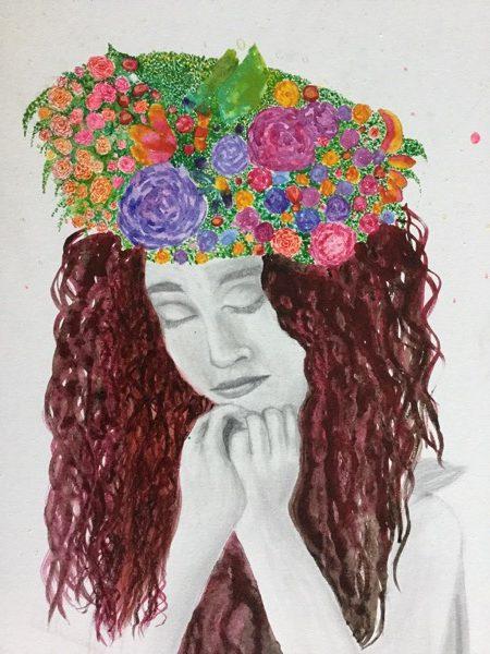 Meera nirmalendran, floral beauty, watercolour and pencil on canvas, 40 x 50cm copy