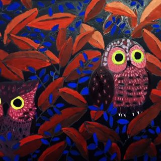 Yul Heo, Night owls, acrylic on canvas, 35 x 28cm