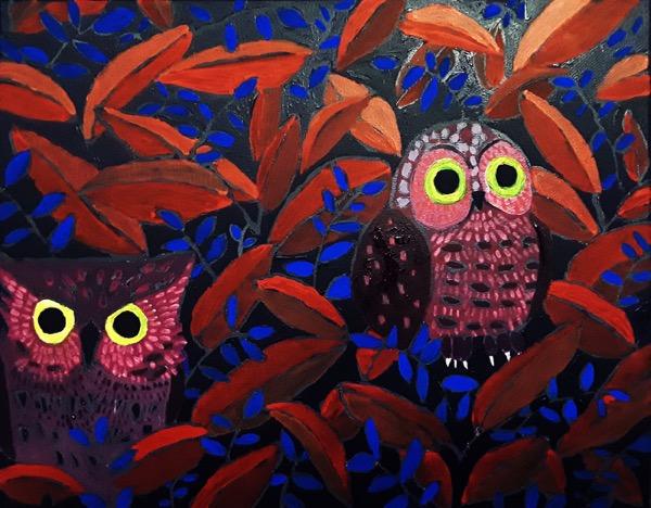 Yul Heo, Night owls, acrylic on canvas, 35 x 28cm