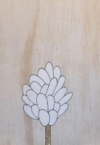Divine design 1, coloured pencil and gold leaf on board, 29 x 20cm