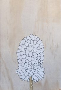 Divine design 3, coloured pencil and gold leaf on board, 29 x 20cm