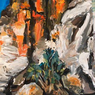 Geiki Gorge - Study III, acrylic on paper 50 x 32cm