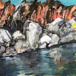 Geiki Gorge Study II, acrylic on paper, 32 x 50cm