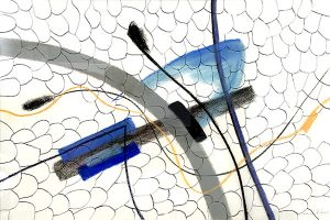 Illedges ant blue butterfly, mixed media on paper, 53 5 x 72cm (incl frame)