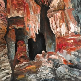 Mimbi Caves, acrylic on canvas, 122 x 92cm