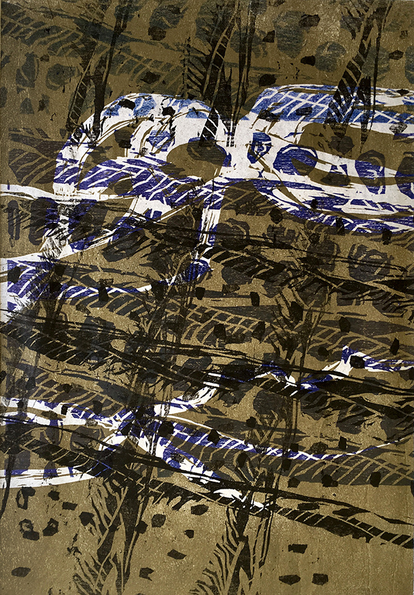 Chaos Theory 2, 3 plate woodcut print on paper, 45 x 32.5cm (incl. frame)