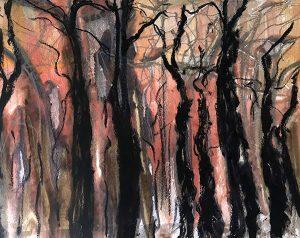 Evening light, mixed media on paper, 38 x 48cm