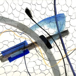 Illedges ant blue butterfly, mixed media drawing, 72 x 53.5cm (incl. frame)