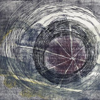Maelstrom, 4 plate woodcut print on paper, 65 x 77cm (incl. frame)