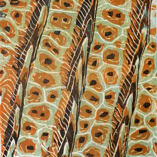 Scaling The Heights - Orange 1, 4 block woodcut print on paper, 20.5 x 17cm