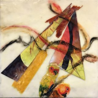 Sun Seeking, encaustic mixed media on clay board, 30 x 30cm
