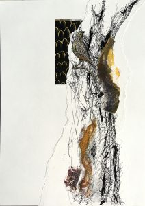 The challenge of spotting a pardalote, mixed media on paper, 42 x 29 7cm